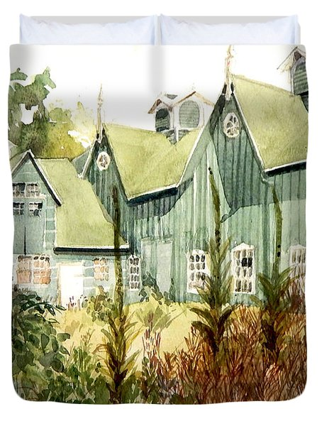 Watercolor Of An Old Wooden Barn Painted Green With Silo In The Sun Duvet Cover
