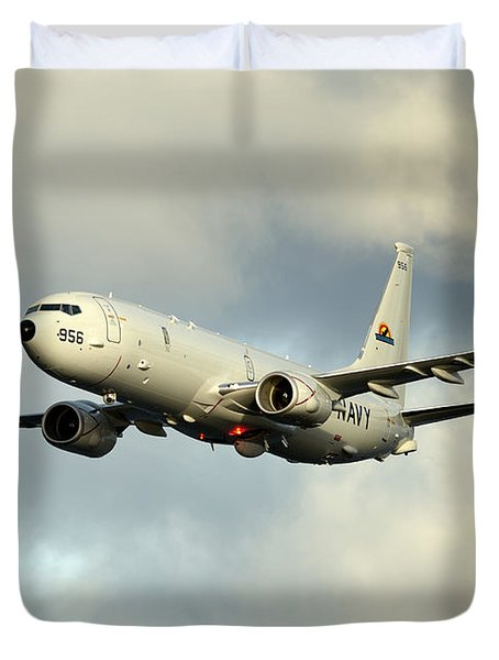 Duvet Cover featuring the photograph A P-8a Poseidon In Flight by Stocktrek Images