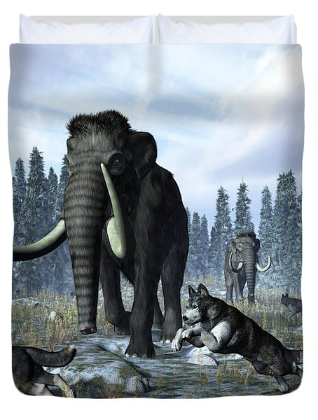 A Pack Of Dire Wolves Crosses Paths Duvet Cover by Walter Myers