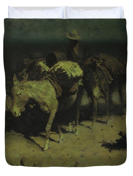 A Pack Train Duvet Cover by Frederic Remington