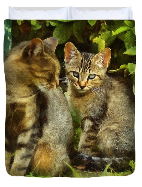 A Pair Of Feral Cats Duvet Cover