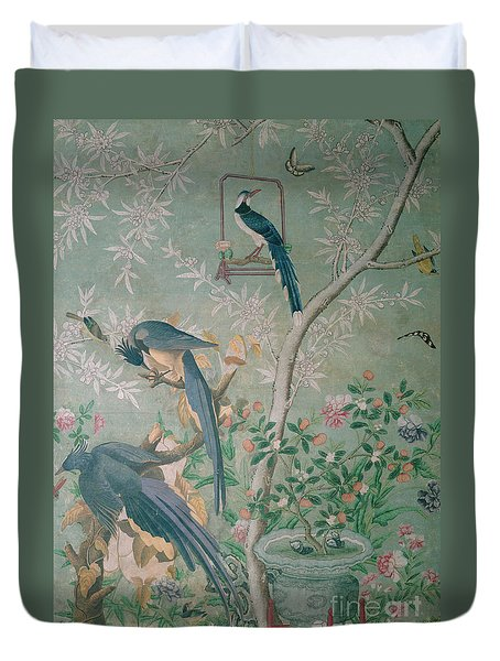A Pair Of Magpie Jays  Vintage Wallpaper Duvet Cover