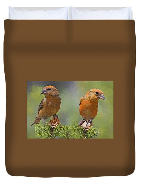 A Pair Of Male Red Crossbills - Painted Duvet Cover