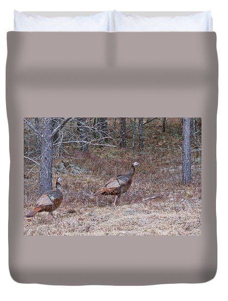 Duvet Cover featuring the photograph A Pair Of Turkeys 1152 by Michael Peychich