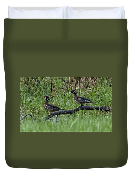 A Pair Of Wood Ducks Duvet Cover