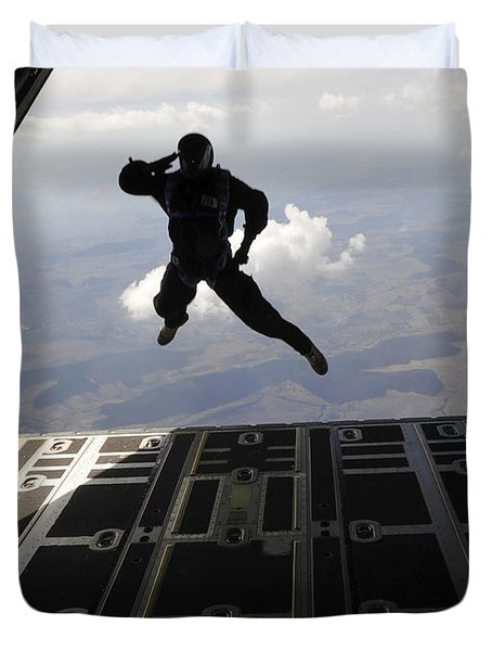 A Paratrooper Salutes As He Jumps Duvet Cover by Stocktrek Images