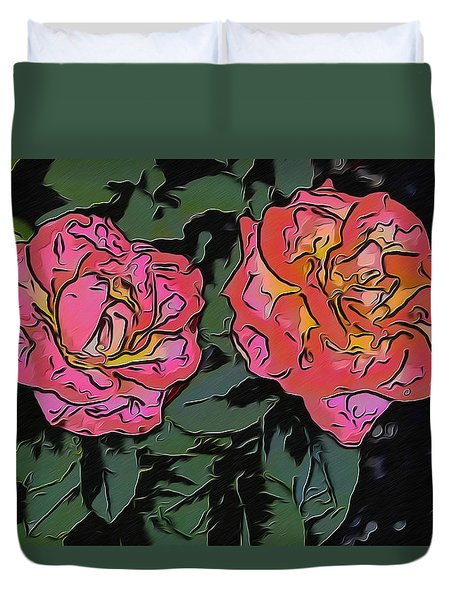 A Parrot And A Tiger Or Two Roses Duvet Cover