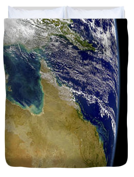 A Partial View Of Earth Showing Duvet Cover by Stocktrek Images