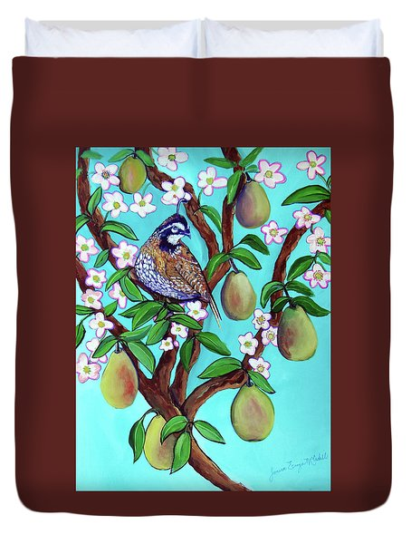 Duvet Cover featuring the painting A Partridge In A  Blooming Pear Tree by Ecinja Art Works