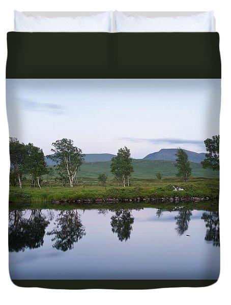 A Pastel Sky Over Loch Ba Duvet Cover