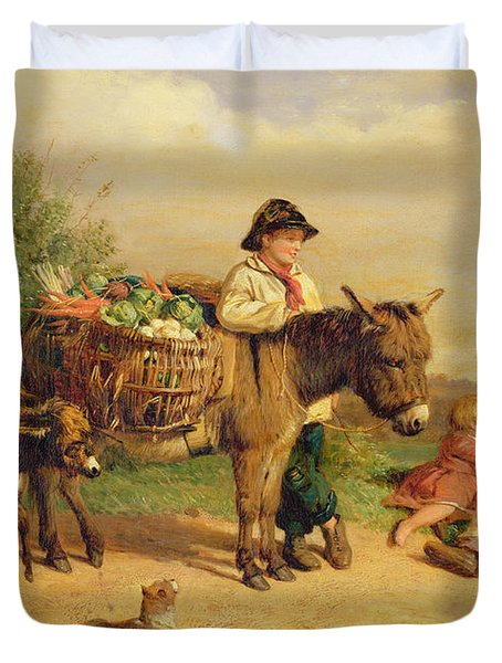 A Pause On The Way To Market Duvet Cover by J O Bank