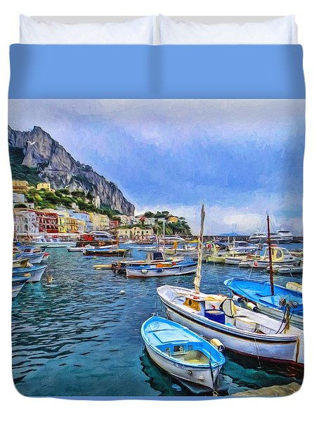 A Peace Of Capri Duvet Cover by TK Goforth