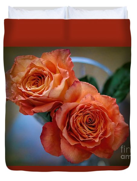 Duvet Cover featuring the photograph A Peach Delight by Diana Mary Sharpton