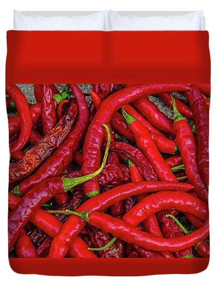A Peck Of Unpickled Peppers Duvet Cover