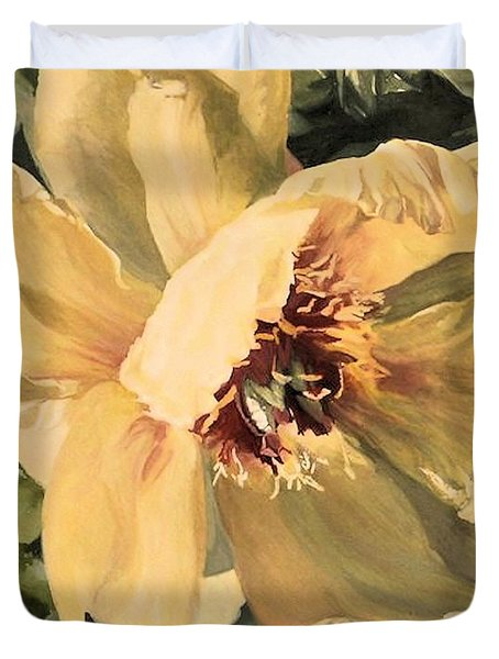 Duvet Cover featuring the painting A Peony For Miggie by Laurie Rohner
