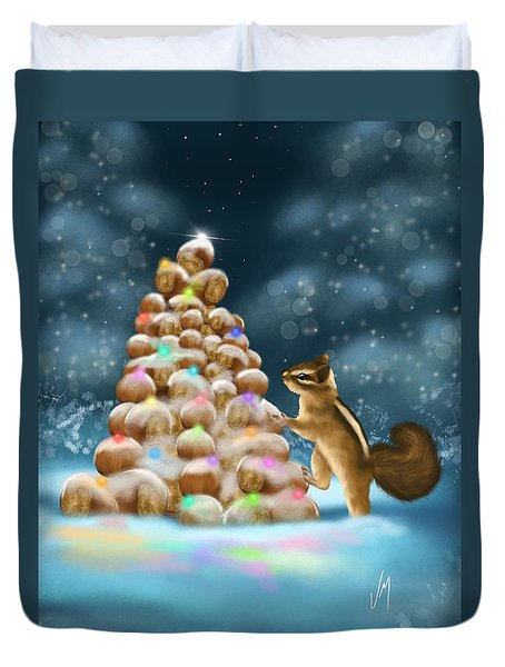 Duvet Cover featuring the painting A Perfect Christmas Tree by Veronica Minozzi