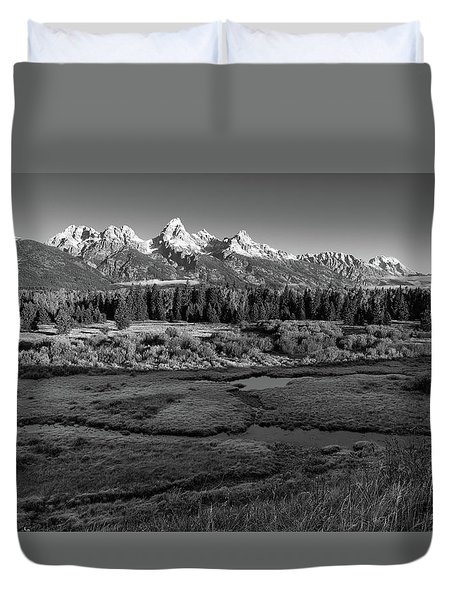 A Perfect Frosty Morning In Grey Scale Duvet Cover