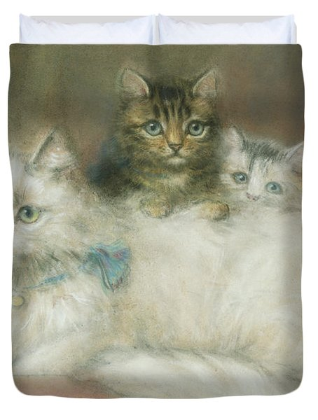 A Persian Cat And Her Kittens Duvet Cover