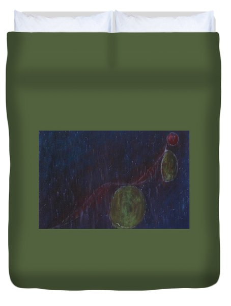 Duvet Cover featuring the painting A Person Who  Inquires Into  The Soul Of Things by Min Zou