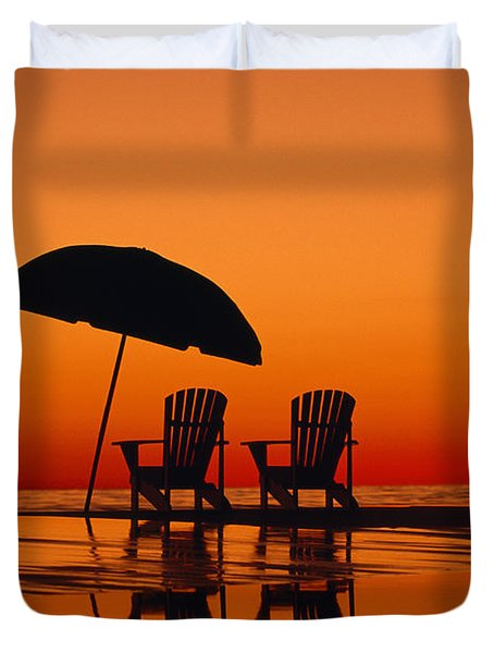 A Picturesque Scene With Two Chairs Duvet Cover by Michael Melford