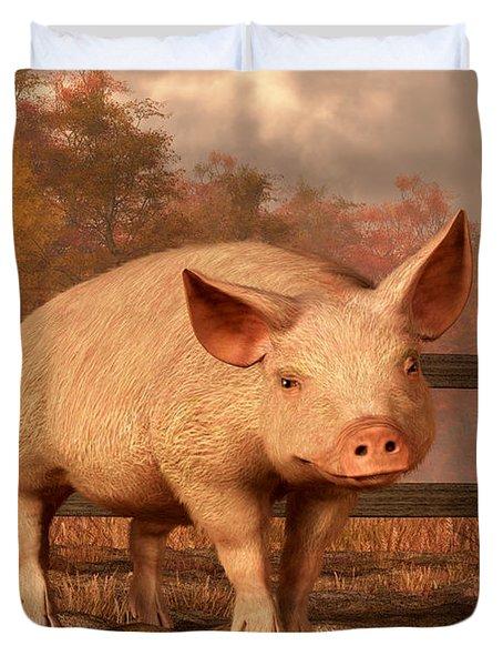 A Pig In Autumn Duvet Cover