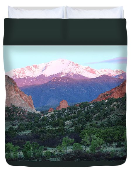 A Pikes Peak Sunrise Duvet Cover