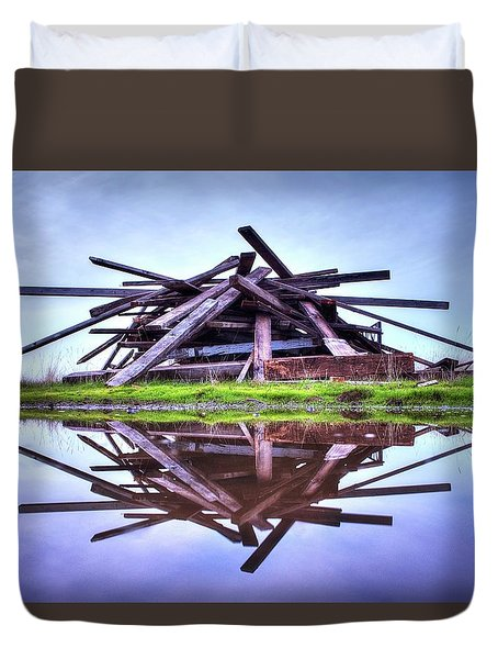Duvet Cover featuring the photograph A Pile Of Wood by Quality HDR Photography