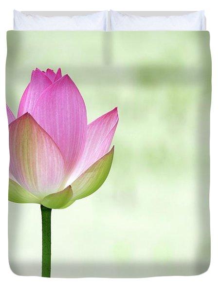 A Pink Lotus Duvet Cover by Sabrina L Ryan