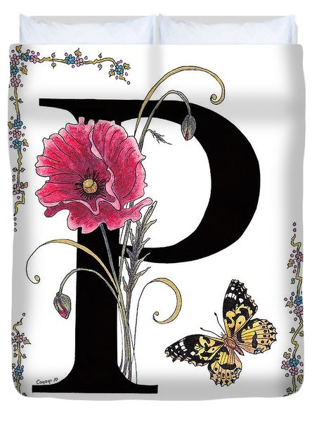 A Pink Poppy And A Painted Lady Butterfly Duvet Cover