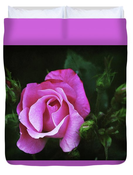 A Pink Rose Duvet Cover by Trina Ansel
