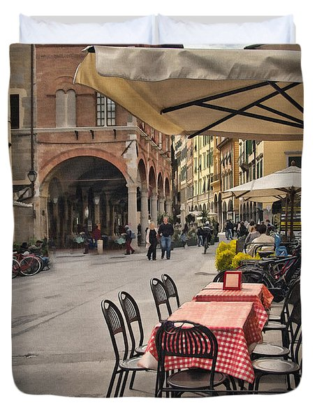 A Pisa Cafe Duvet Cover by Sharon Foster