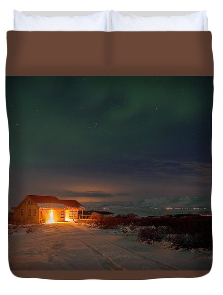 Duvet Cover featuring the photograph A Place For The Night, South Of Iceland by Dubi Roman
