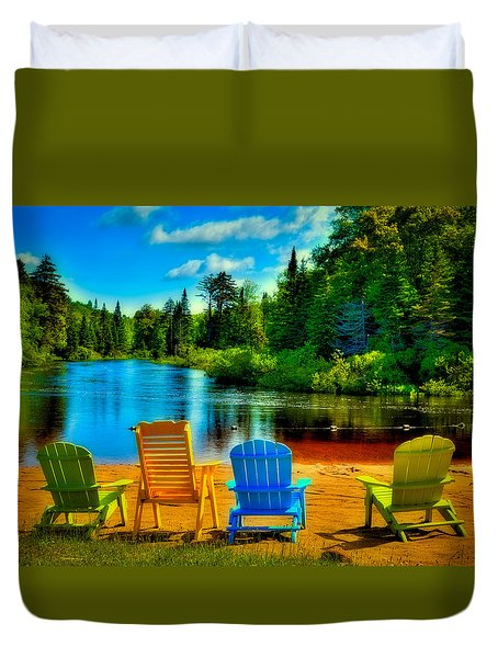 A Place To Relax At Singing Waters Duvet Cover by David Patterson