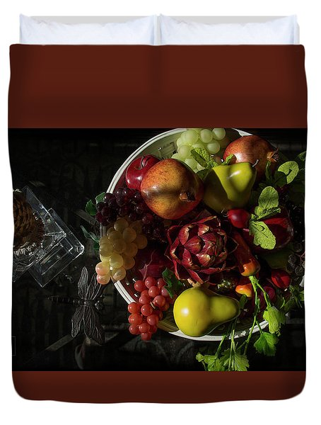 A Plate Of Fruits Duvet Cover