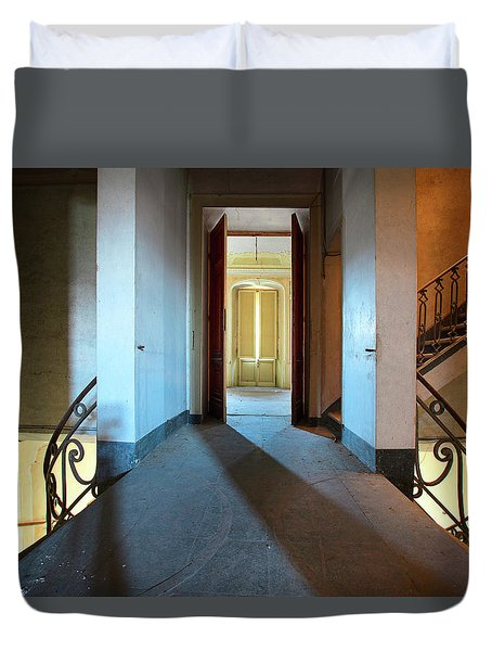 Duvet Cover featuring the photograph A Play Of Light On Ythe Stairway by Dirk Ercken