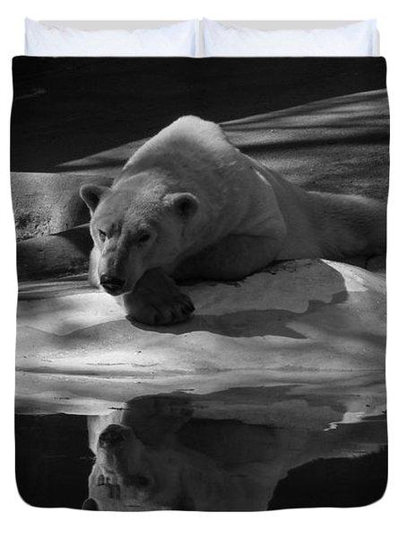 A Polar Bear Reflects Duvet Cover by Karol Livote