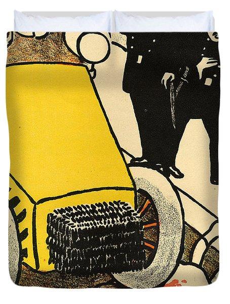 A Police Car Runs Over A Little Girl Duvet Cover by Felix Edouard Vallotton
