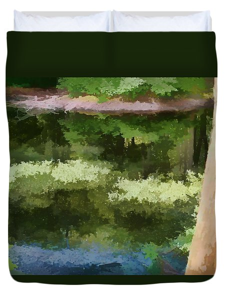 Duvet Cover featuring the photograph A Pond Reflection by Tom Prendergast