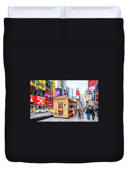 A Portable Food Stand In New York Times Square Duvet Cover