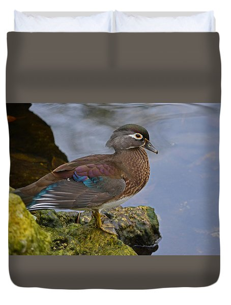 A Pretty Female Painted Wood Duck Duvet Cover