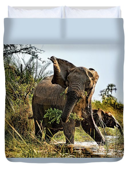A Protective Mama Elephant With Calf  Duvet Cover