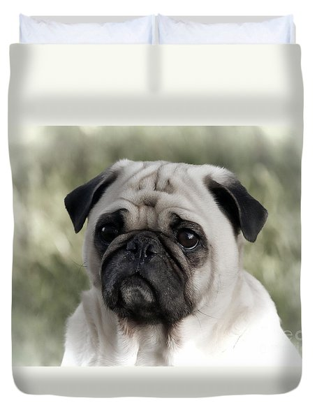 Duvet Cover featuring the photograph A Pug Portrait by Erica Hanel