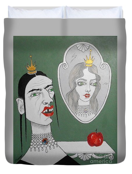 A Queen, Her Mirror And An Apple Duvet Cover