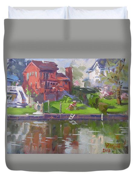 A Quiet Afternoon By The Canal Duvet Cover