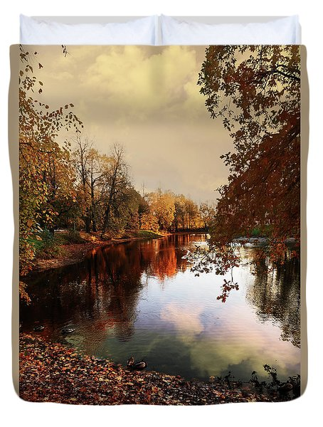 a quiet evening in a city Park painted in bright colors of autumn Duvet Cover