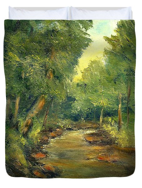 Duvet Cover featuring the painting A Quiet Place by Gail Kirtz