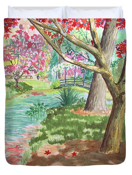 A Quiet Stroll In The Japanese Gardens Of Gibbs Gardens Duvet Cover