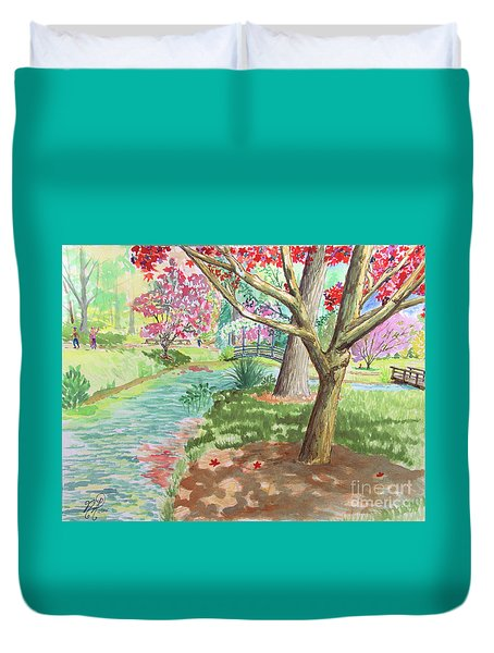 A Quiet Stroll In The Japanese Gardens Of Gibbs Gardens Duvet Cover
