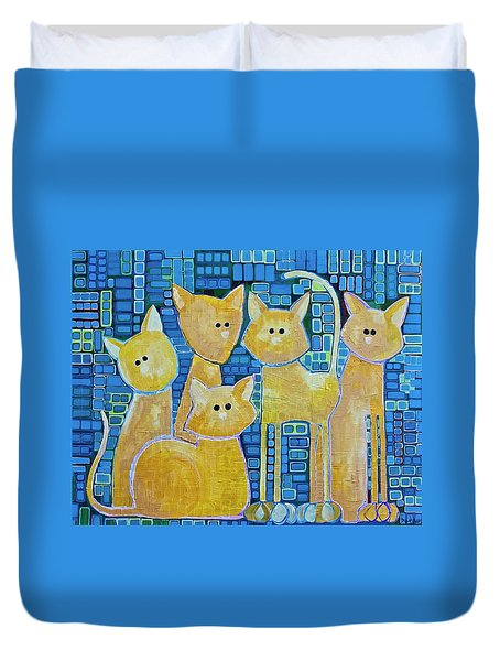A Quorum Of Cats Duvet Cover