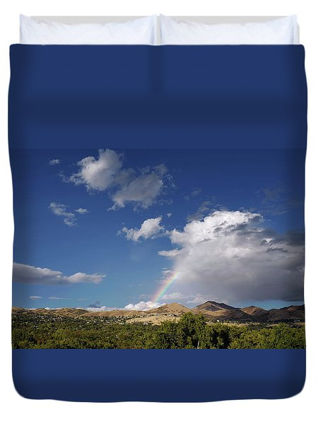 A Rainbow In Salt Lake City Duvet Cover by Rona Black